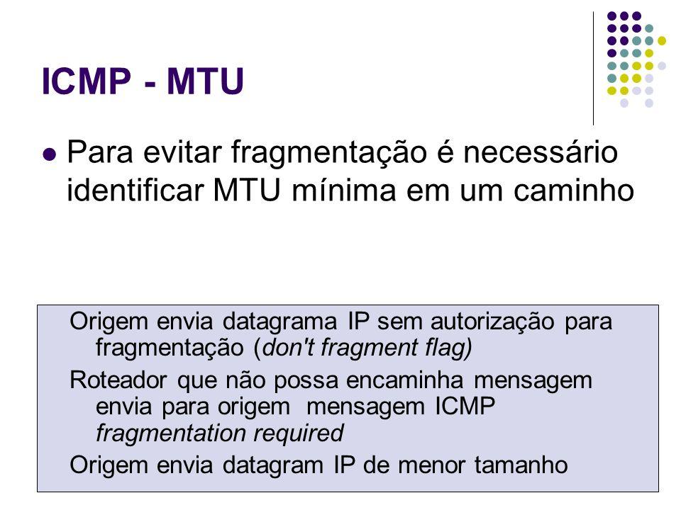 ICMP - MTU Para evitar fragmentação é necessário identificar MTU mínima em um caminho.