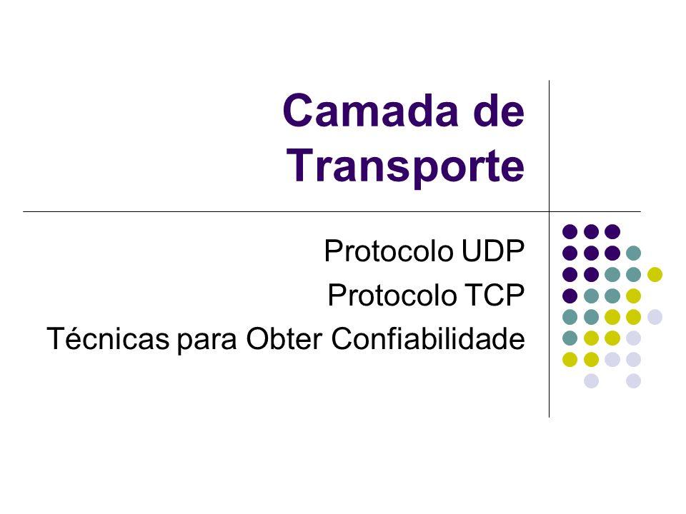 Protocolo UDP Protocolo TCP Técnicas para Obter Confiabilidade
