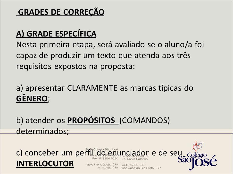 GRADES DE CORREÇÃO A) GRADE ESPECÍFICA Nesta primeira etapa, será avaliado se o aluno/a foi capaz de produzir um texto que atenda aos três requisitos expostos na proposta: a) apresentar CLARAMENTE as marcas típicas do GÊNERO; b) atender os PROPÓSITOS (COMANDOS) determinados; c) conceber um perfil do enunciador e de seu INTERLOCUTOR