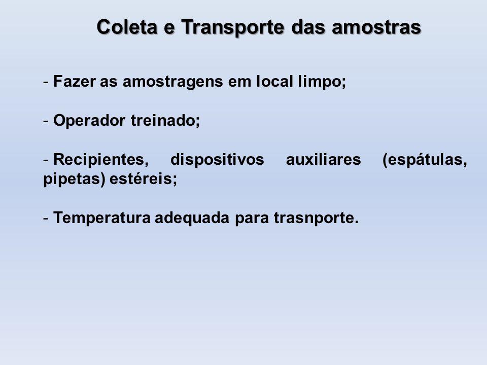 Coleta e Transporte das amostras