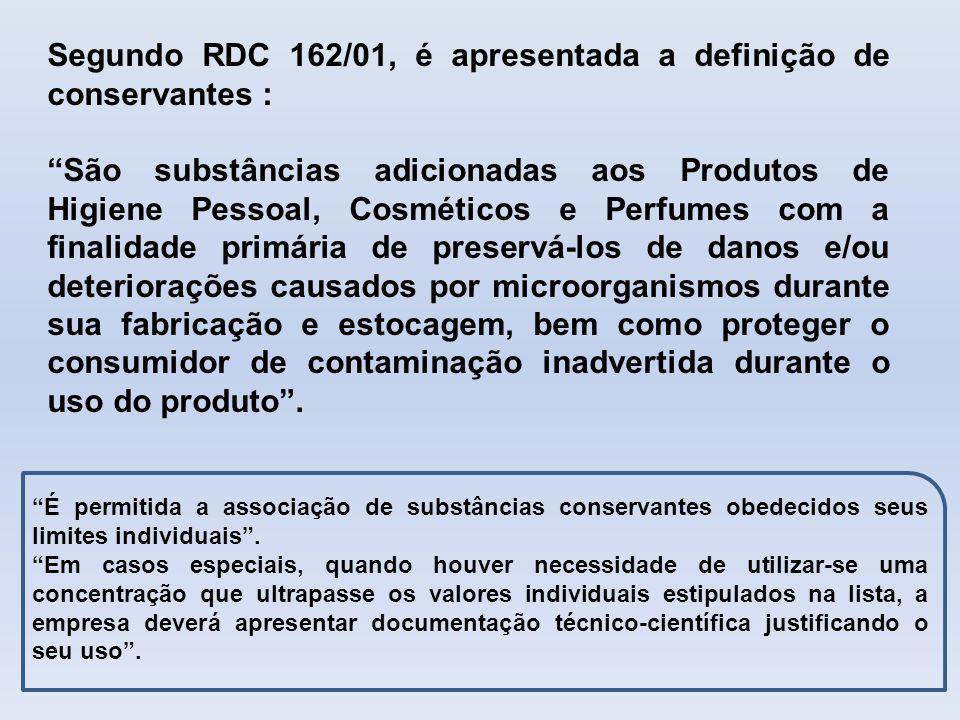 Segundo RDC 162/01, é apresentada a definição de conservantes :
