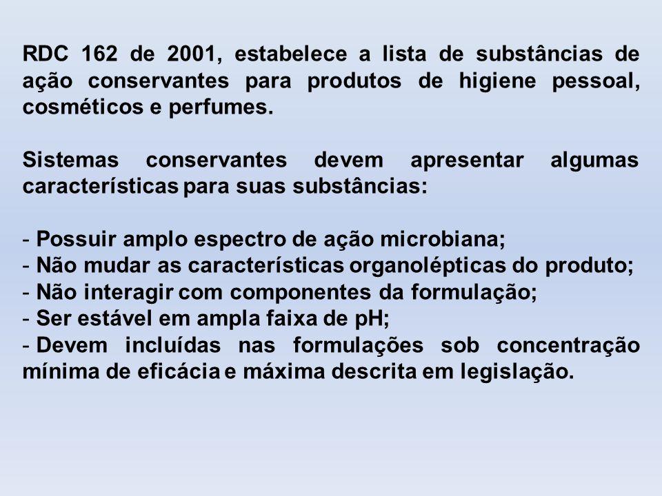RDC 162 de 2001, estabelece a lista de substâncias de ação conservantes para produtos de higiene pessoal, cosméticos e perfumes.