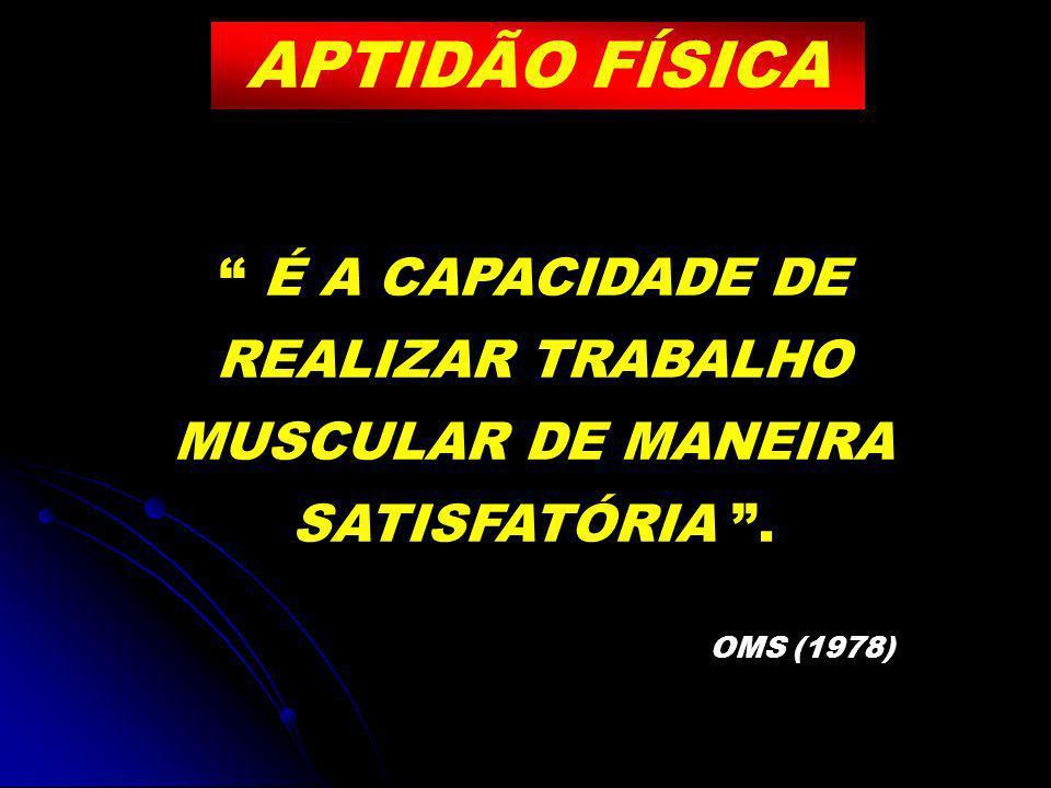 APTIDÃO FÍSICA É A CAPACIDADE DE REALIZAR TRABALHO MUSCULAR DE MANEIRA SATISFATÓRIA . OMS (1978)