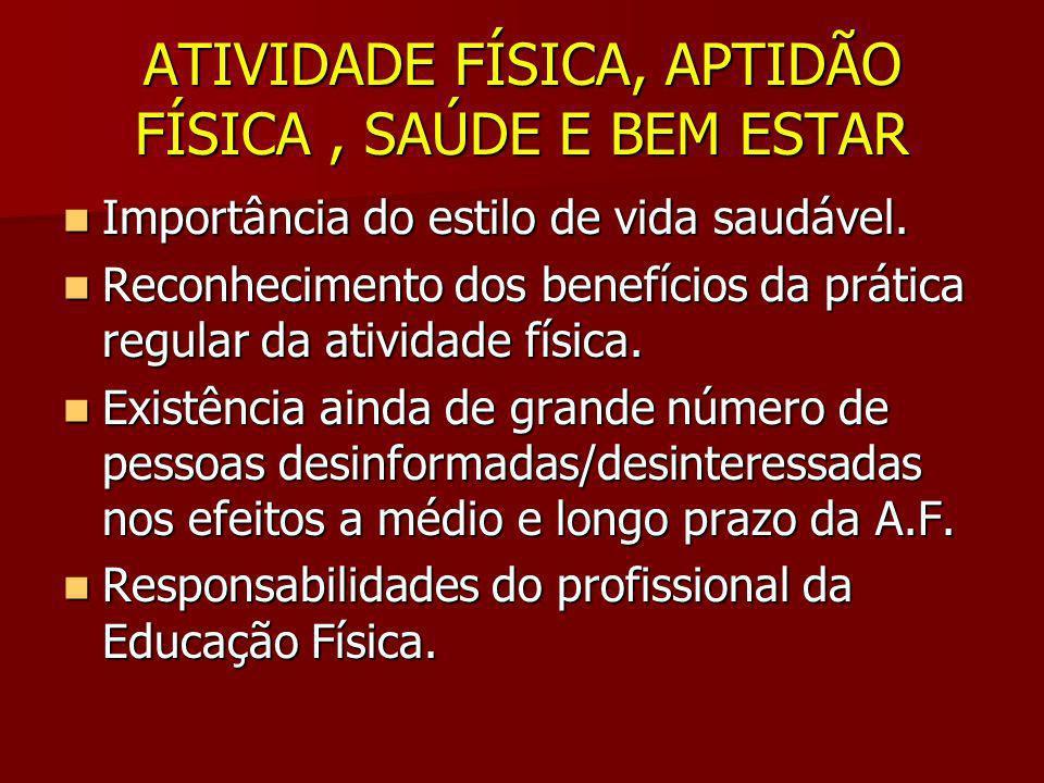 ATIVIDADE FÍSICA, APTIDÃO FÍSICA , SAÚDE E BEM ESTAR