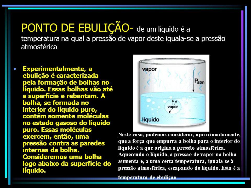 PONTO DE EBULIÇÃO- de um líquido é a temperatura na qual a pressão de vapor deste iguala-se a pressão atmosférica