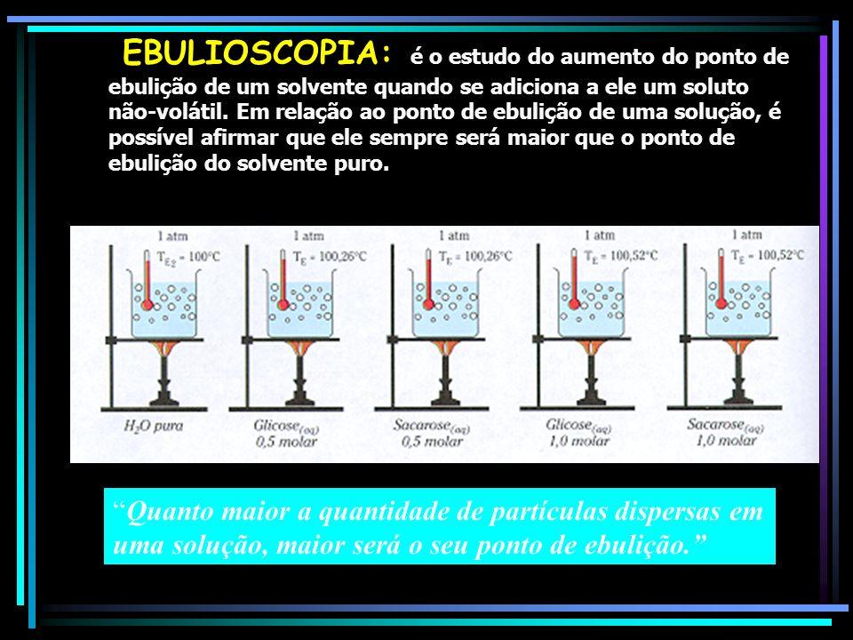 EBULIOSCOPIA: é o estudo do aumento do ponto de ebulição de um solvente quando se adiciona a ele um soluto não-volátil. Em relação ao ponto de ebulição de uma solução, é possível afirmar que ele sempre será maior que o ponto de ebulição do solvente puro.