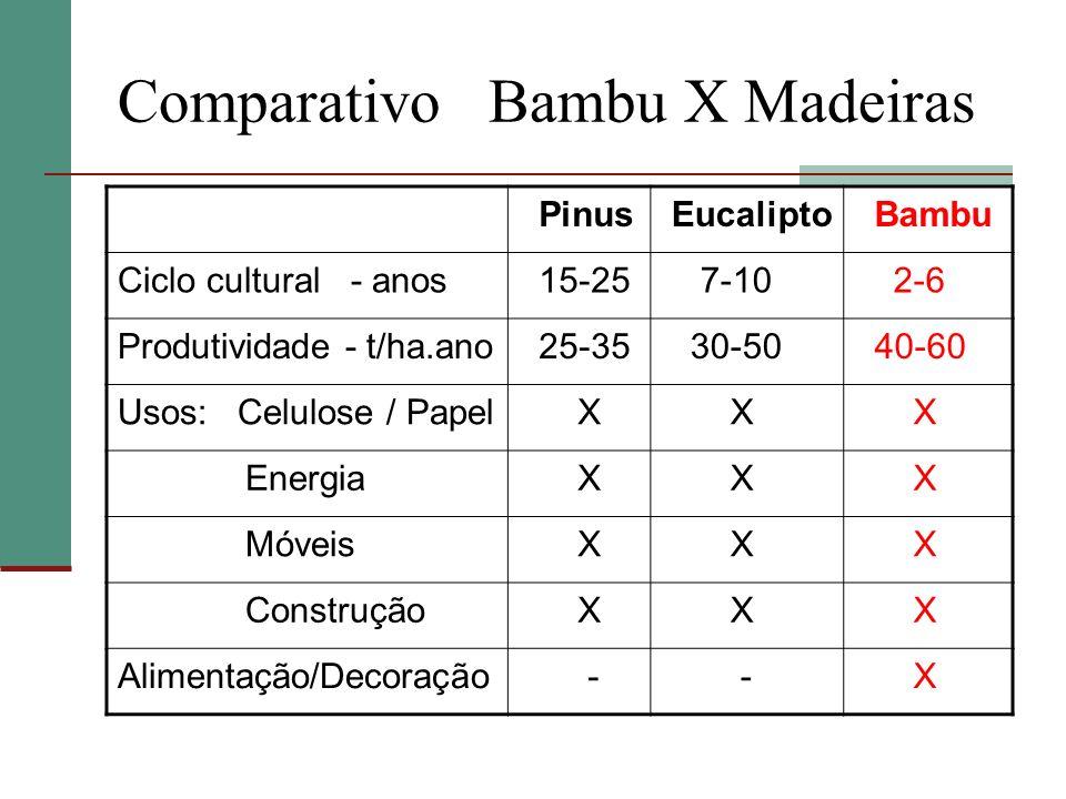 Comparativo Bambu X Madeiras