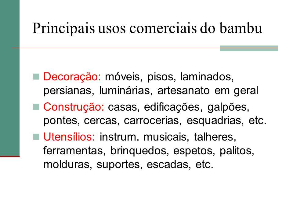 Principais usos comerciais do bambu