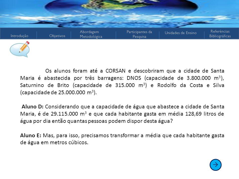 Os alunos foram até a CORSAN e descobriram que a cidade de Santa Maria é abastecida por três barragens: DNOS (capacidade de 3.800.000 m3), Saturnino de Brito (capacidade de 315.000 m3) e Rodolfo da Costa e Silva (capacidade de 25.000.000 m3).