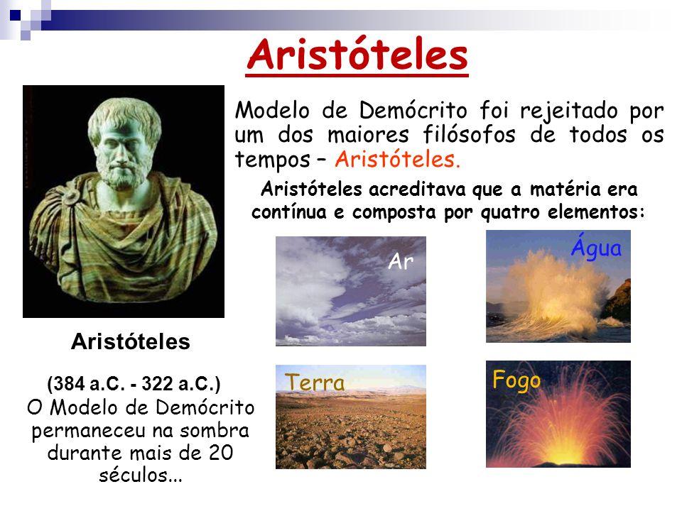 AristótelesModelo de Demócrito foi rejeitado por um dos maiores filósofos de todos os tempos – Aristóteles.