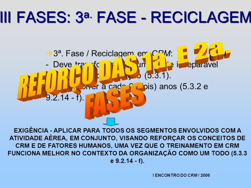 III FASES: 3a. FASE - RECICLAGEM