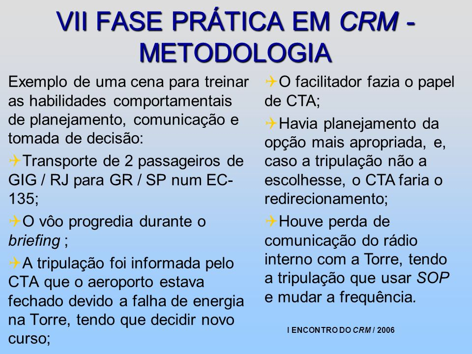 VII FASE PRÁTICA EM CRM - METODOLOGIA