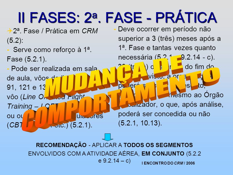 II FASES: 2a. FASE - PRÁTICA