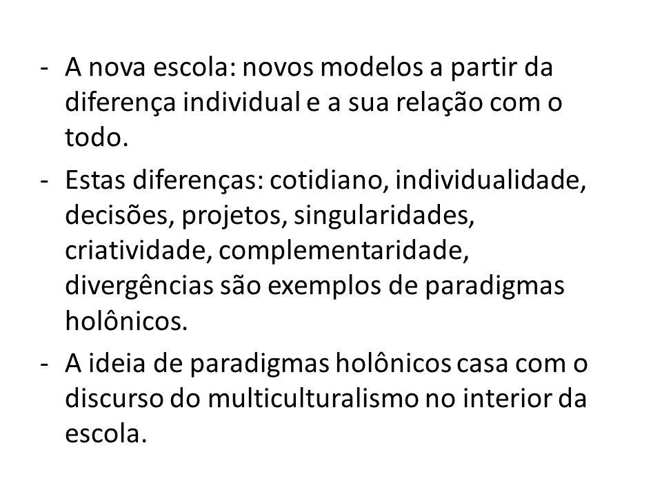 A nova escola: novos modelos a partir da diferença individual e a sua relação com o todo.