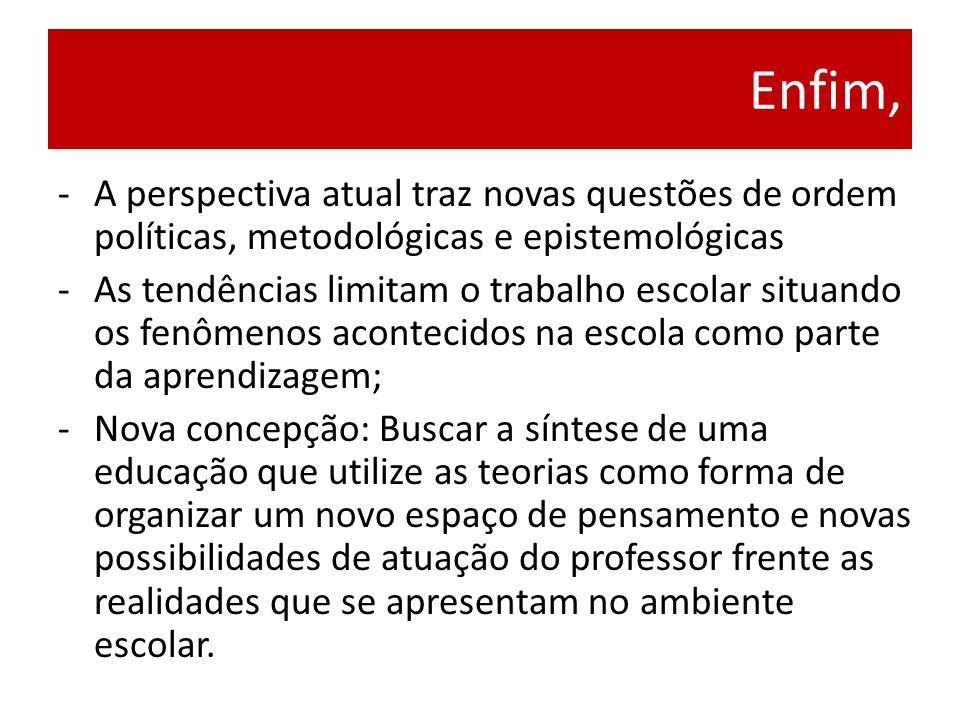Enfim, A perspectiva atual traz novas questões de ordem políticas, metodológicas e epistemológicas.