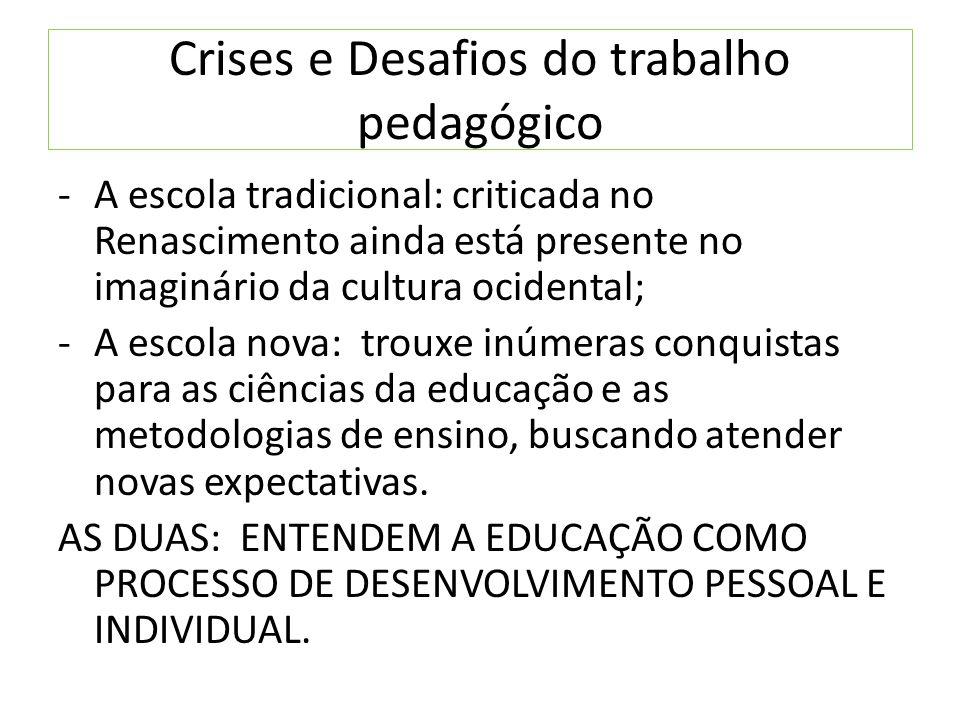Crises e Desafios do trabalho pedagógico
