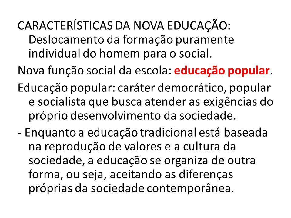 CARACTERÍSTICAS DA NOVA EDUCAÇÃO: Deslocamento da formação puramente individual do homem para o social.