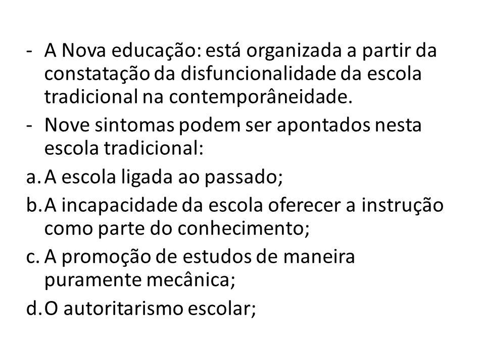 A Nova educação: está organizada a partir da constatação da disfuncionalidade da escola tradicional na contemporâneidade.