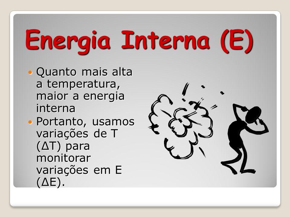 Energia Interna (E) Quanto mais alta a temperatura, maior a energia interna.