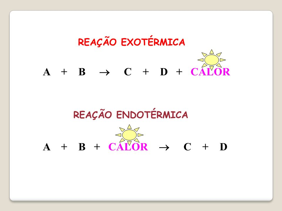 A + B  C + D + CALOR A + B + CALOR  C + D REAÇÃO EXOTÉRMICA