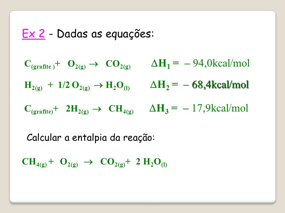 Ex 2 - Dadas as equações: C(grafite )+ O2(g)  CO2(g) H1 = – 94,0kcal/mol.