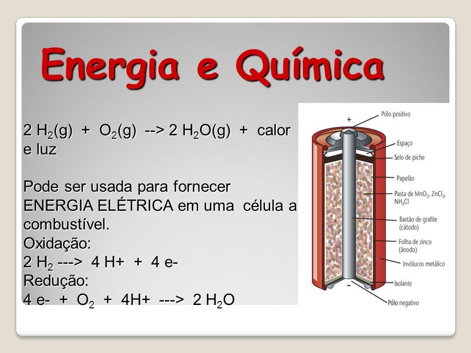 Energia e Química 2 H2(g) + O2(g) --> 2 H2O(g) + calor e luz