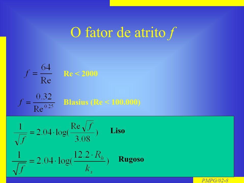O fator de atrito f Re < 2000 Blasius (Re < 100.000) Liso Rugoso