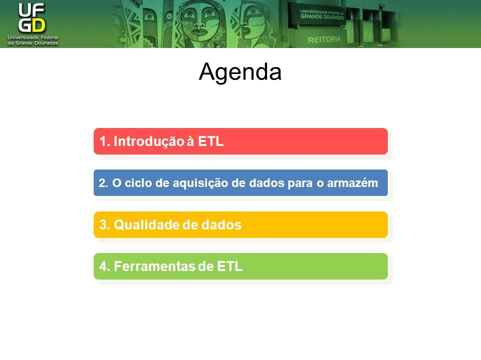 Agenda 1. Introdução à ETL 3. Qualidade de dados 4. Ferramentas de ETL