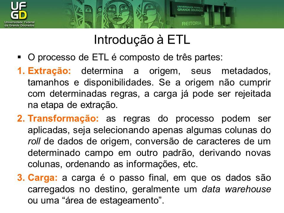 Introdução à ETL O processo de ETL é composto de três partes: