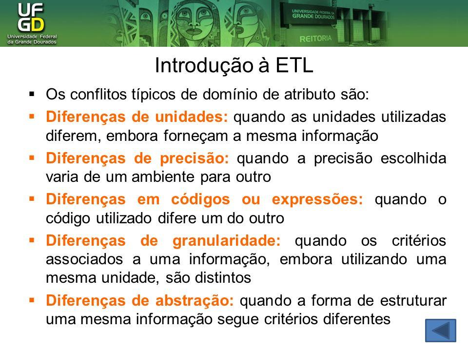 Introdução à ETL Os conflitos típicos de domínio de atributo são: