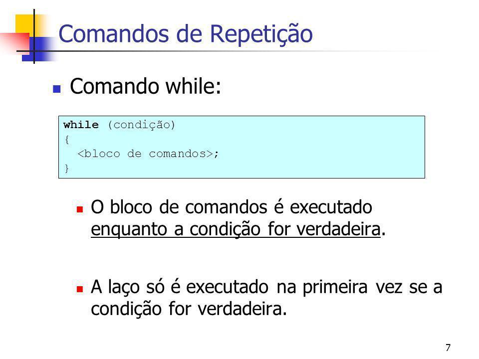 Comandos de Repetição Comando while: