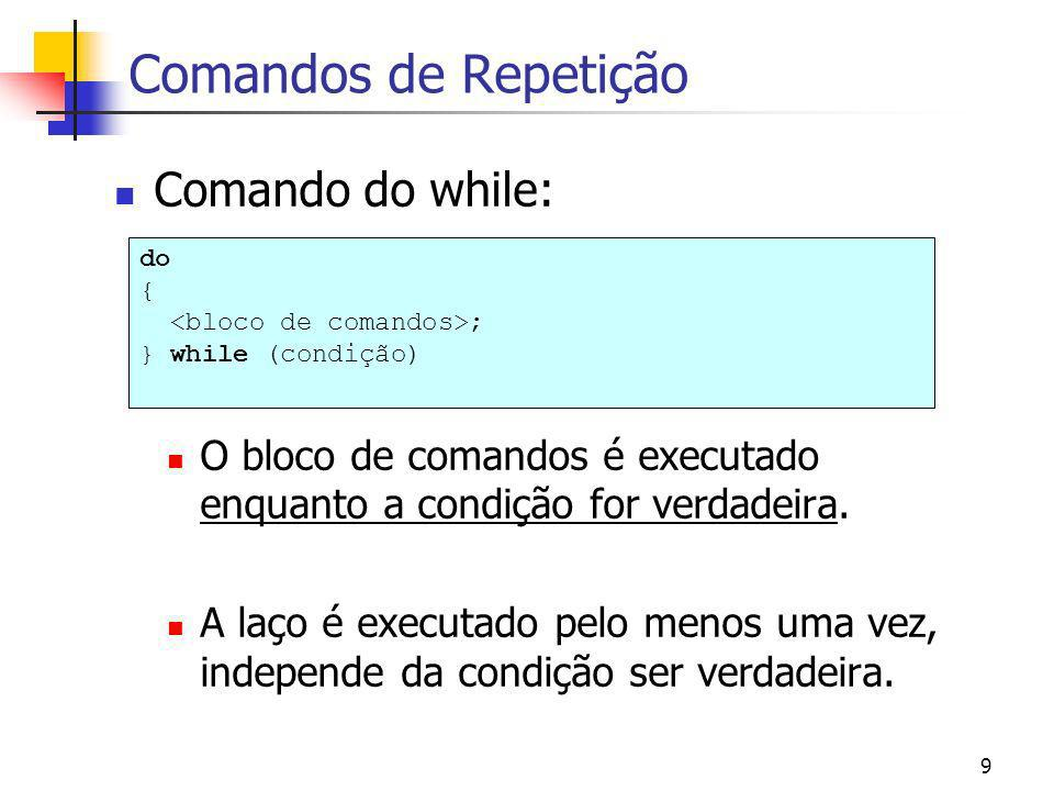 Comandos de Repetição Comando do while: