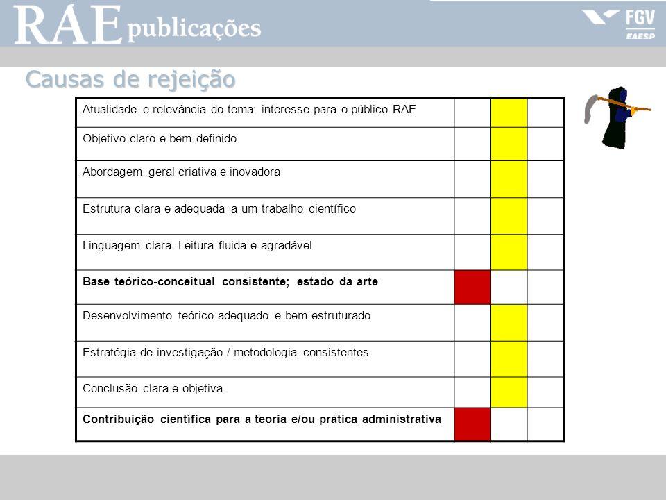 Causas de rejeiçãoAtualidade e relevância do tema; interesse para o público RAE. Objetivo claro e bem definido.