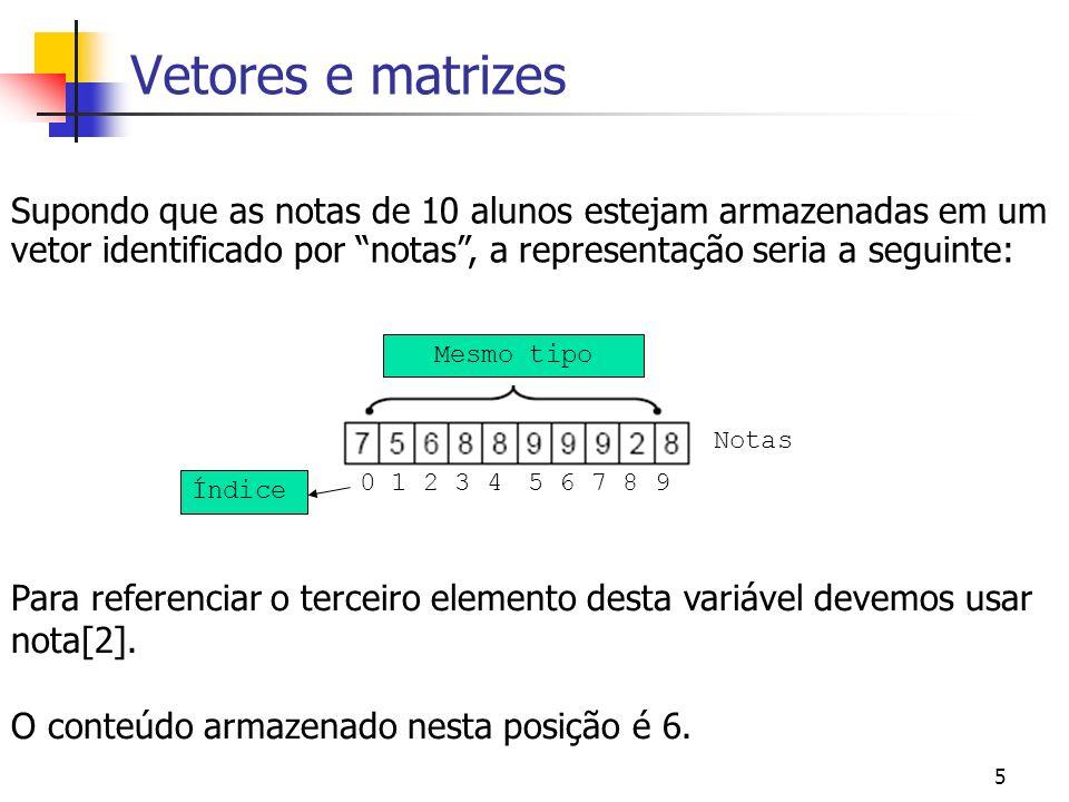 Vetores e matrizes Supondo que as notas de 10 alunos estejam armazenadas em um vetor identificado por notas , a representação seria a seguinte: