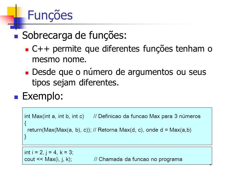 Funções Sobrecarga de funções: Exemplo: