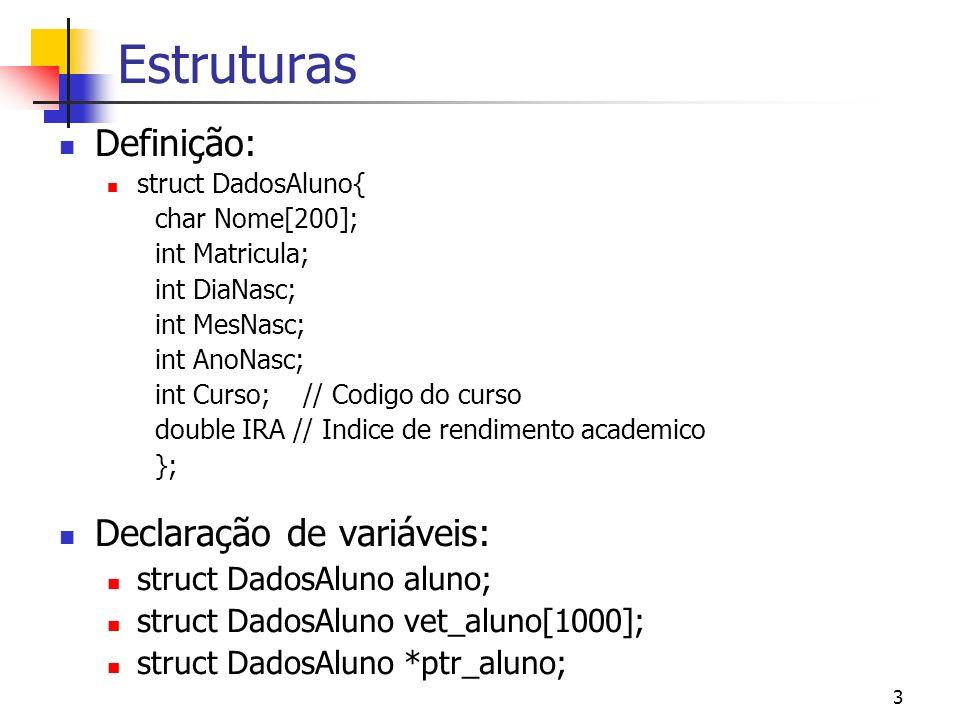 Estruturas Definição: Declaração de variáveis: