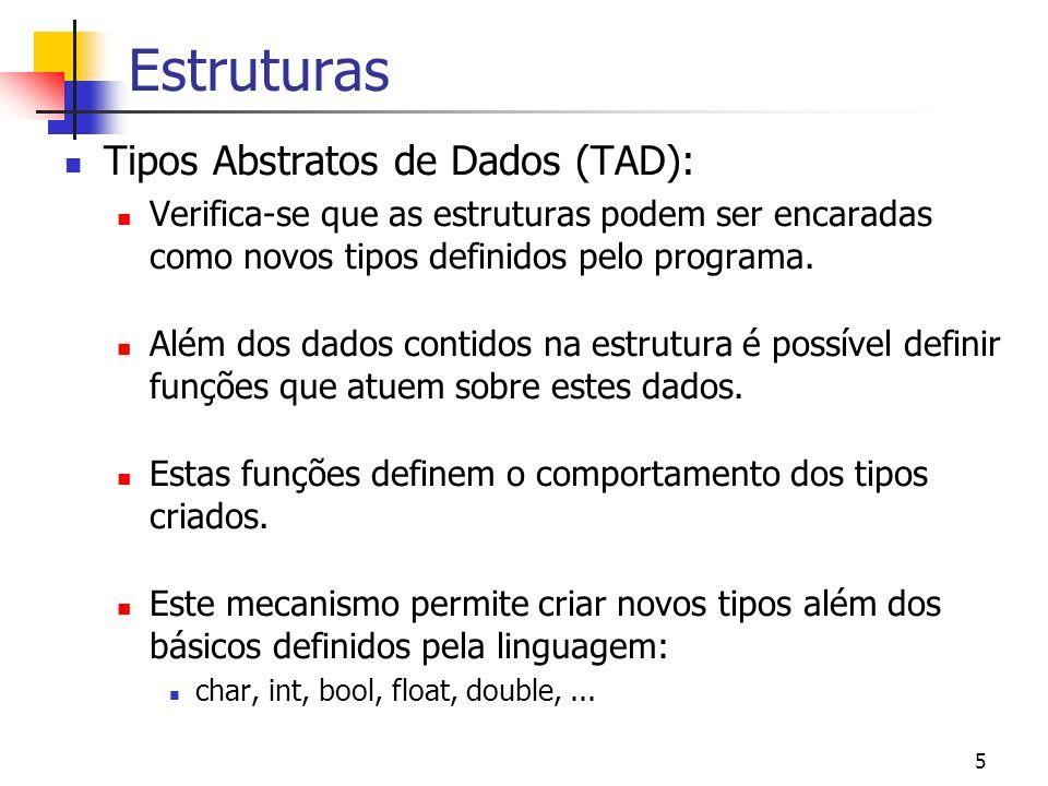Estruturas Tipos Abstratos de Dados (TAD):
