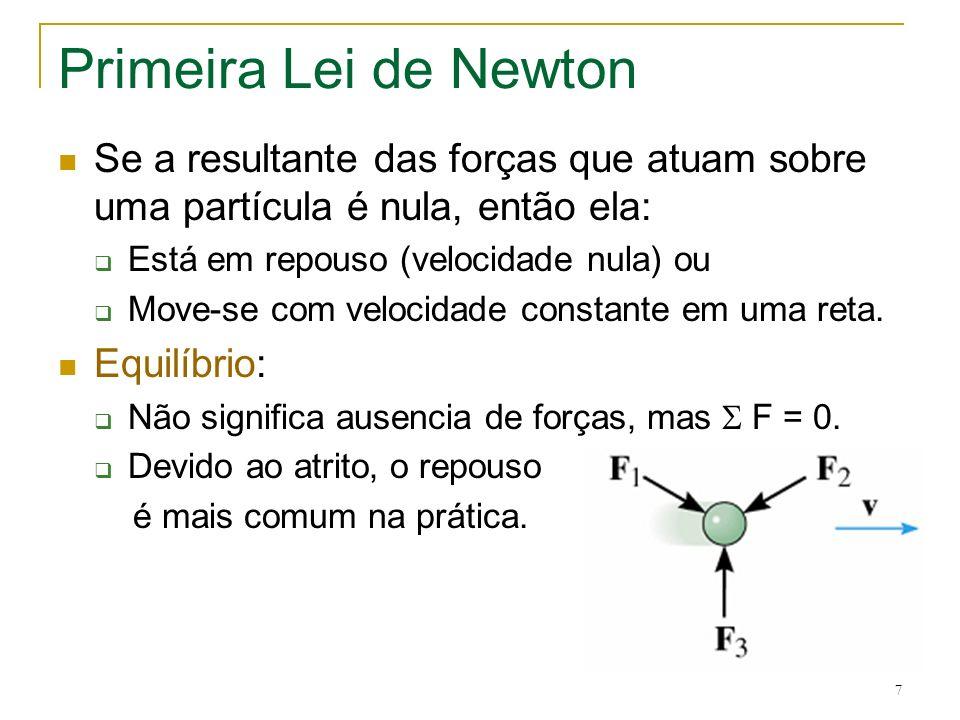 Primeira Lei de Newton Se a resultante das forças que atuam sobre uma partícula é nula, então ela: Está em repouso (velocidade nula) ou.