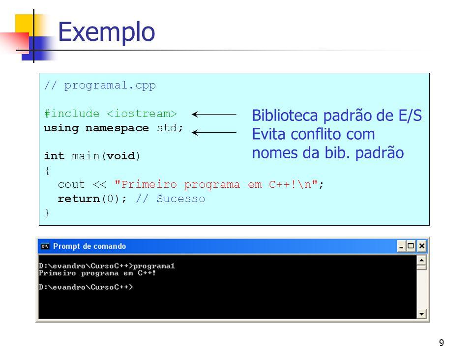 Exemplo Biblioteca padrão de E/S