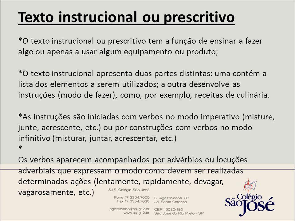 Texto instrucional ou prescritivo