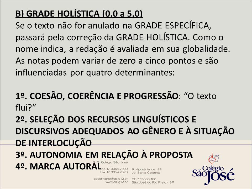 B) GRADE HOLÍSTICA (0,0 a 5,0) Se o texto não for anulado na GRADE ESPECÍFICA, passará pela correção da GRADE HOLÍSTICA.