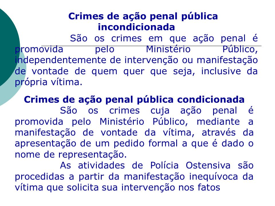 Crimes de ação penal pública incondicionada