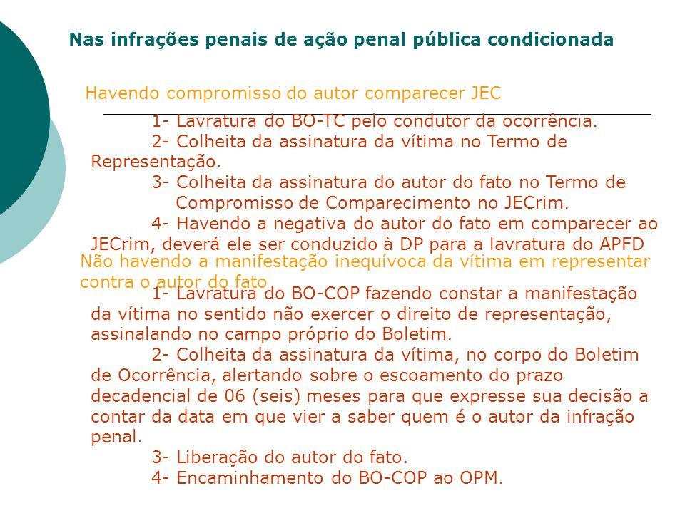 Nas infrações penais de ação penal pública condicionada