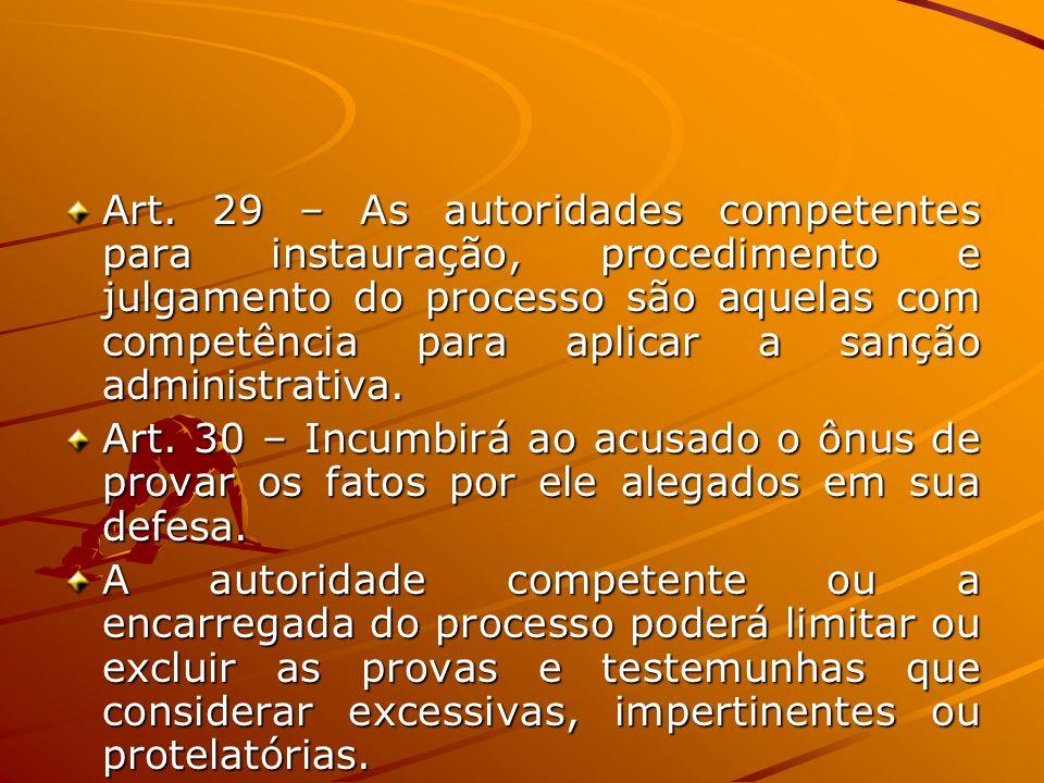 Art. 29 – As autoridades competentes para instauração, procedimento e julgamento do processo são aquelas com competência para aplicar a sanção administrativa.