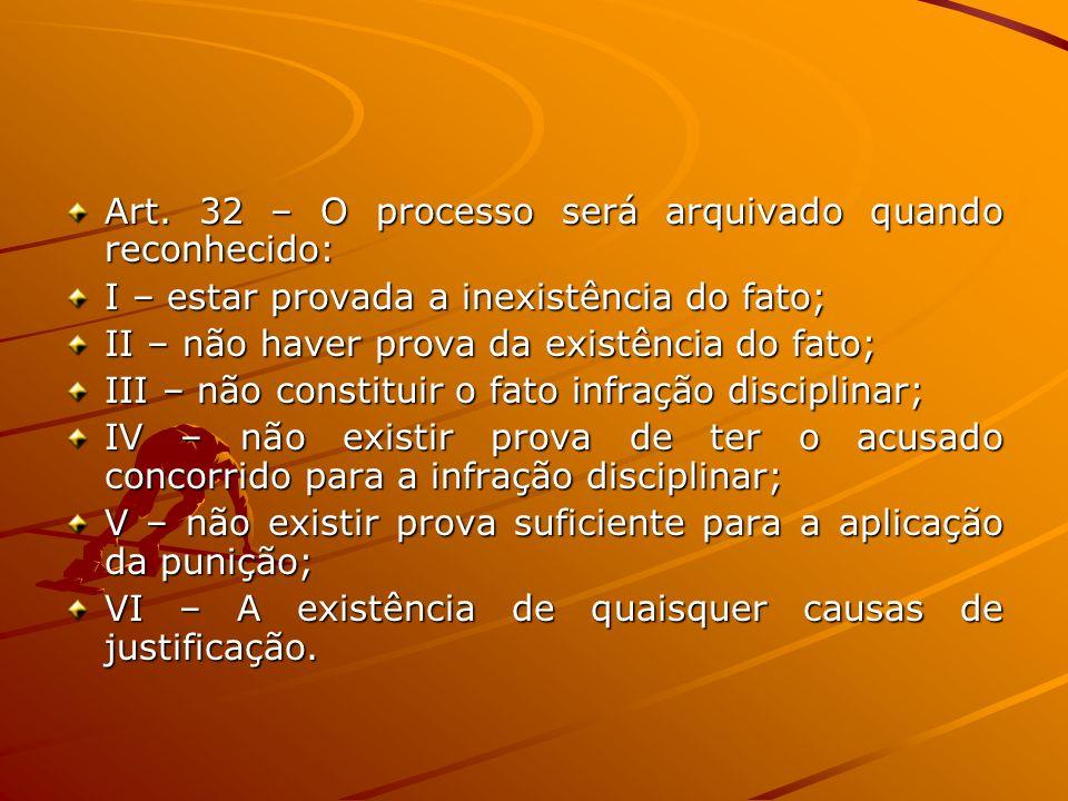 Art. 32 – O processo será arquivado quando reconhecido: