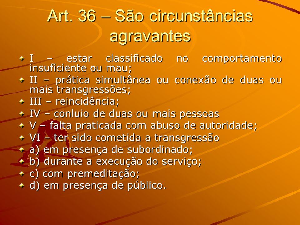 Art. 36 – São circunstâncias agravantes