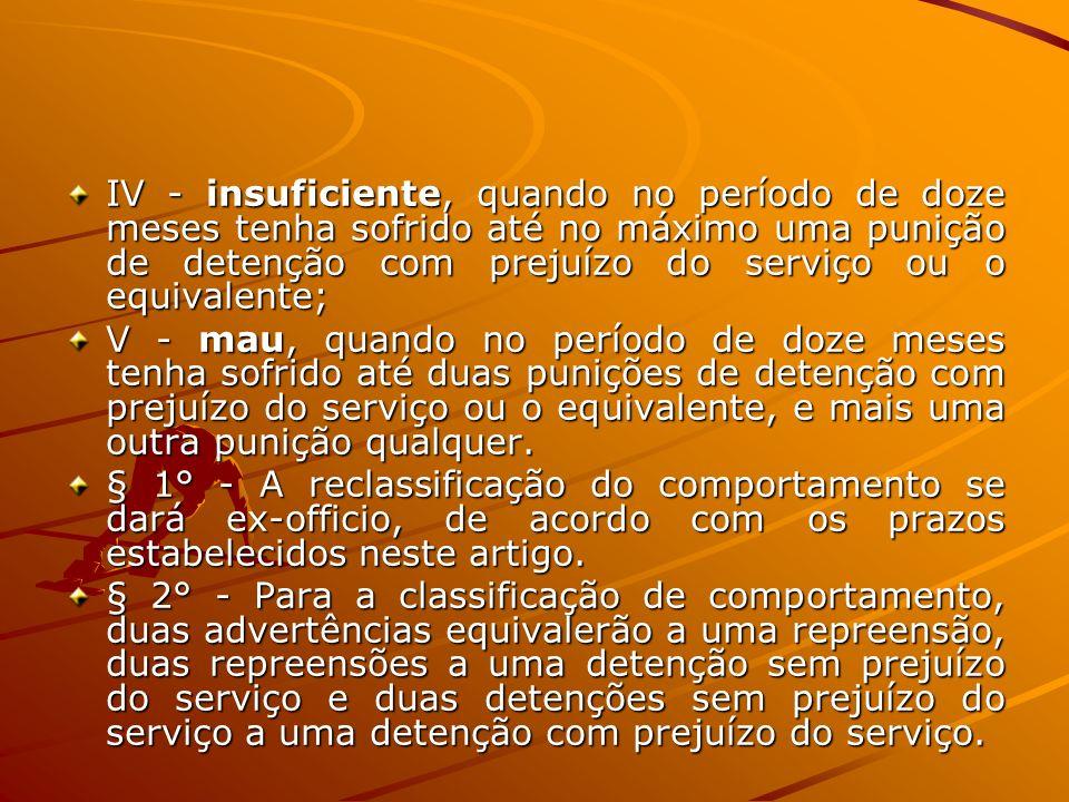IV - insuficiente, quando no período de doze meses tenha sofrido até no máximo uma punição de detenção com prejuízo do serviço ou o equivalente;