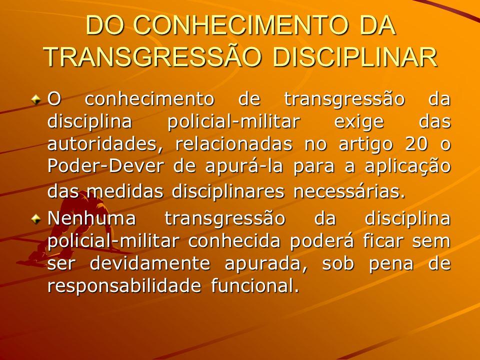 DO CONHECIMENTO DA TRANSGRESSÃO DISCIPLINAR