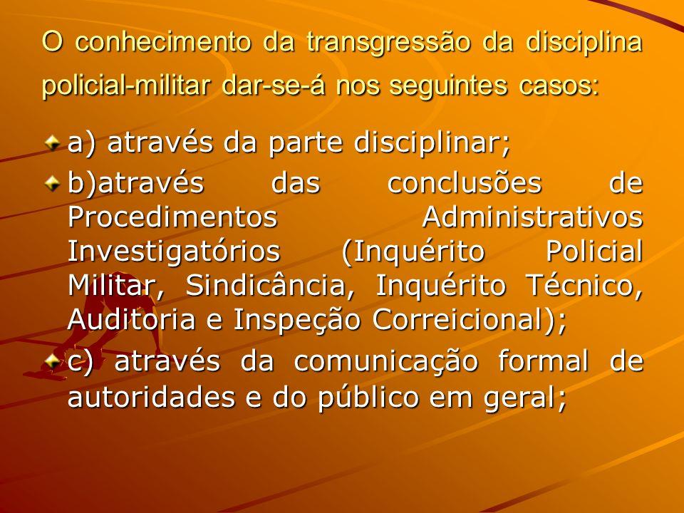 O conhecimento da transgressão da disciplina policial-militar dar-se-á nos seguintes casos: