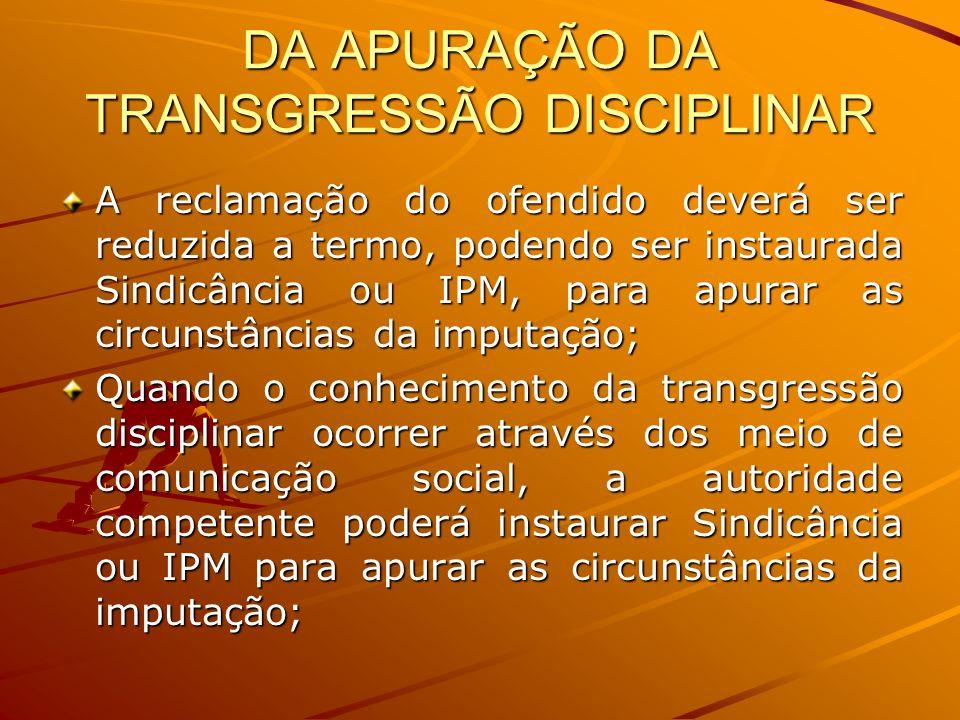 DA APURAÇÃO DA TRANSGRESSÃO DISCIPLINAR